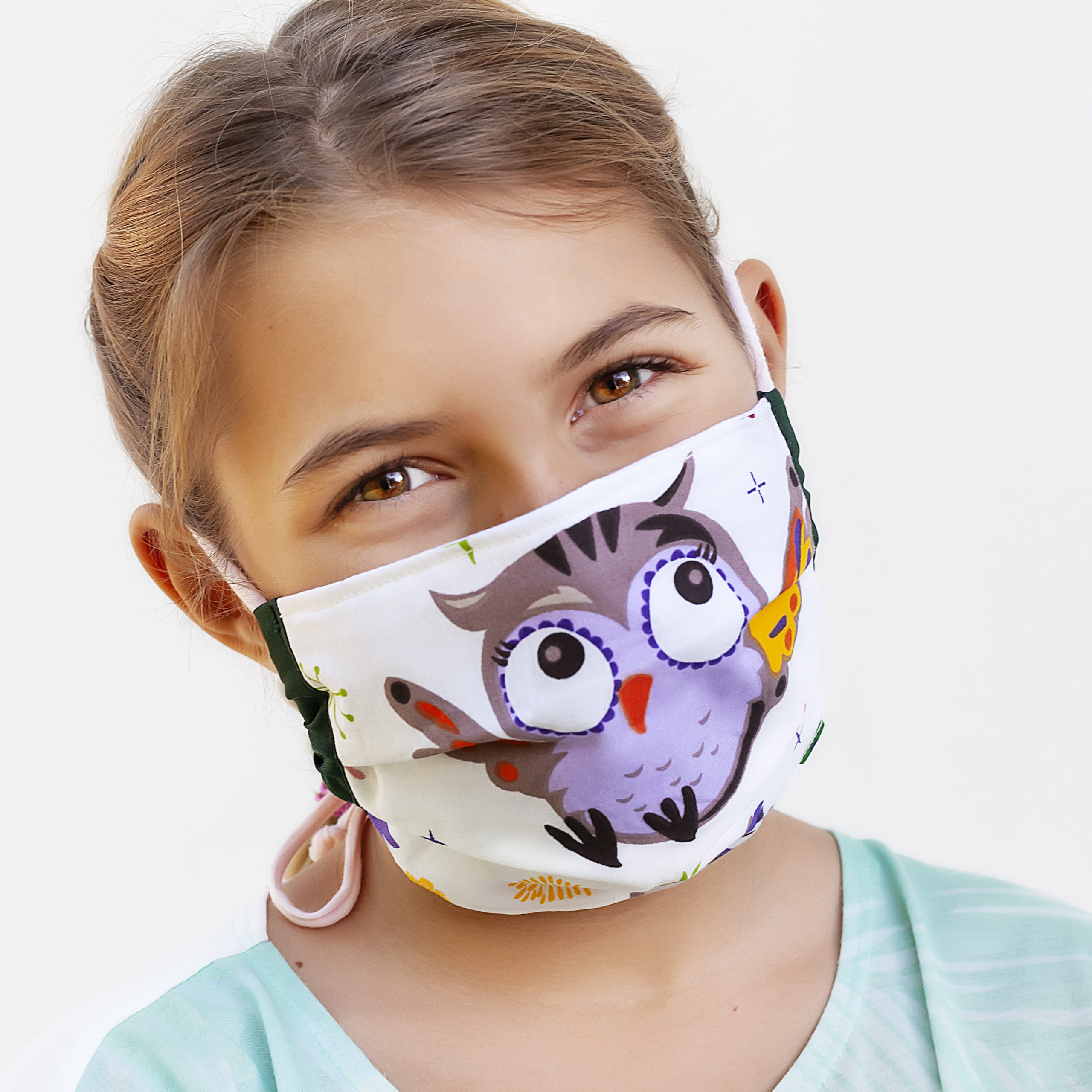 Cotton Face Mask 10 15 Year Sizes Owl Print The Silk